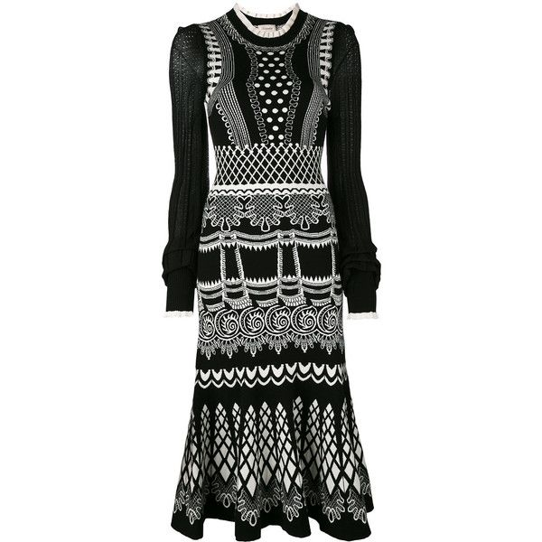 Temperley London Silvermist jacquard knit midi dress ($795) ❤ liked on Polyvore featuring dresses, black, temperley london, jacquard fabric dress, midi day dresses, knit midi dress and temperley london dress