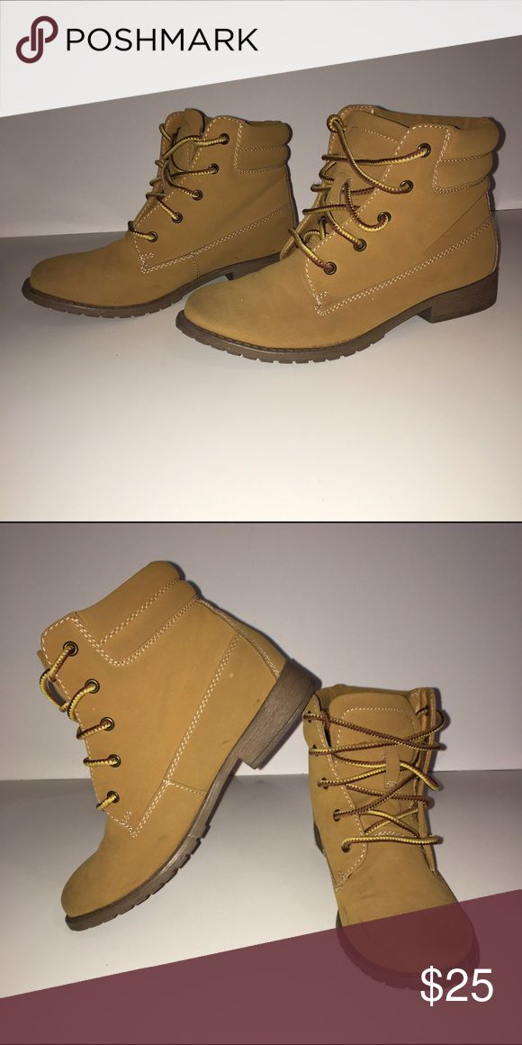 Madden Girl Timberland Booties Worn a couple times. Bought some real timberlands and never used these again. Really light and comfortable. SZ 7 Women. Madden Girl Shoes Ankle Boots & Booties