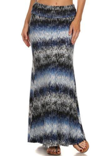 Shosho-Everyday-Blue-Multi-Color-Stripe-Long-Maxi-Skirt-Women-S-M-L-XL