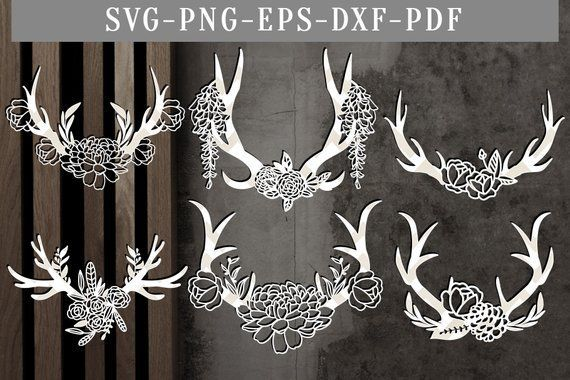 Floral antler bundle papercut template, bundle of 6 floral antler svg cut files, antler boho flowers laser, silhouette cricut, dxf eps png