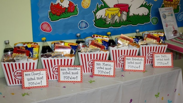 red carpet day during taw - baskets with snacks  popcorn  drink  a movie gift card