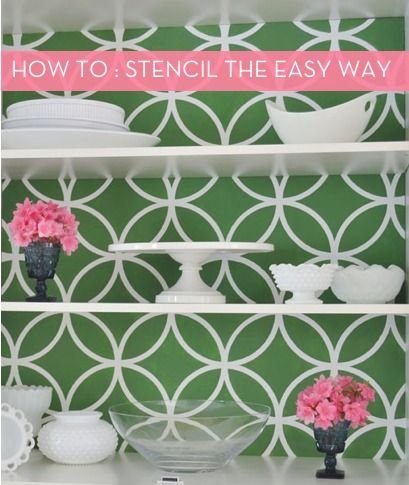 How To: Stencil the Easy Way: Decor Ideas, Kitchens Wall, Kids Bathroom, China Cabinets, Royals, Bathroom Wall, Moroccan Stencil, Medicine Cabinets, Design Studios