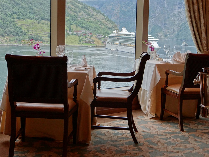 View From Our Table In Queens Grill Restaurant While Docked Geiranger