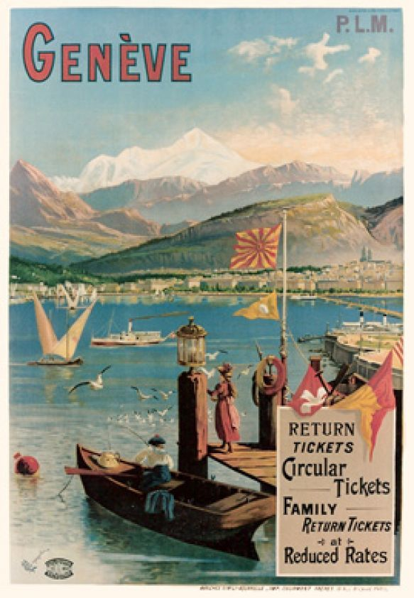Vintage Travel Poster - P.L.M. Genève - Tanconville - Switzerland -  1900.
