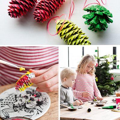 Sjove kogler Fine både som pynt på juletræet, på en gren eller i en skål.