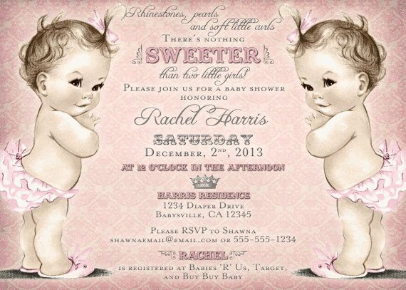 Twins Baby Shower Invitation For Twin Girls   Vintage   Princess   Crown    Pink   DIY Printable