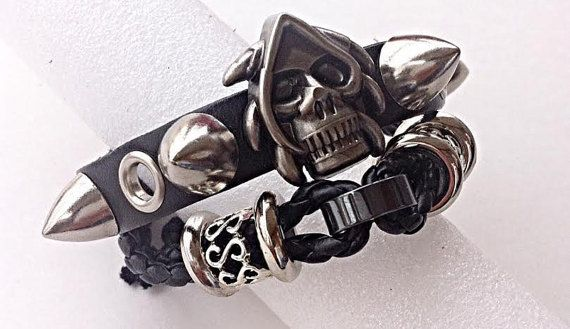 Spiked Skull Leather Cuff Double Wrap Punk by ToxifyDesigns