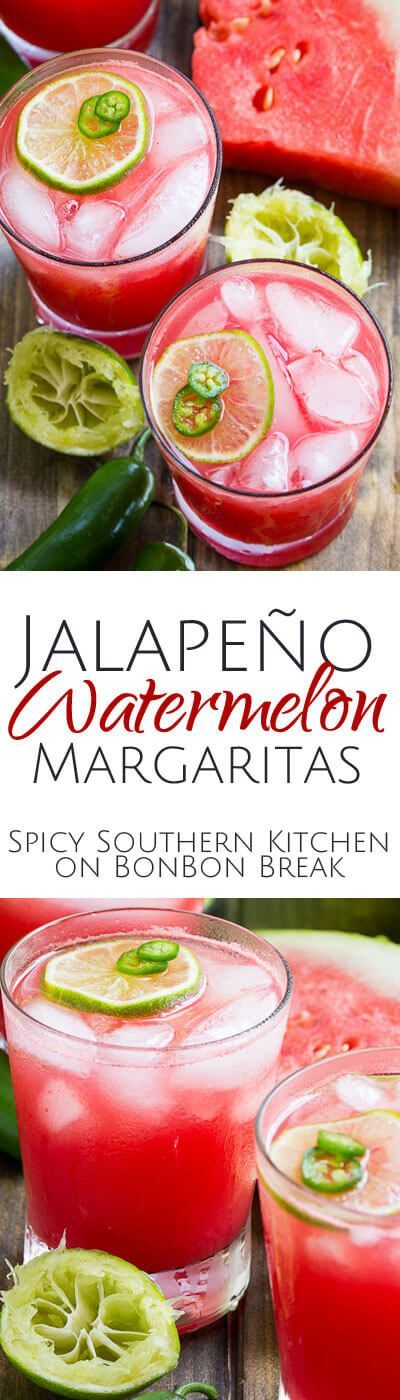 Fresh, sweet watermelon puree, lime juice, Triple Sec, and jalapeno-infused tequila make these Jalapeno Watermelon Margaritas super summery and delightful.