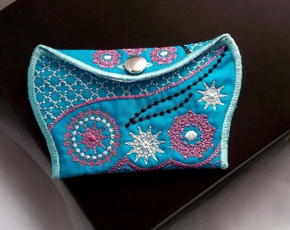 Wallet blue - purchase - pocket - Machine embroidery digitization./INSTANT DOWNLOAD
