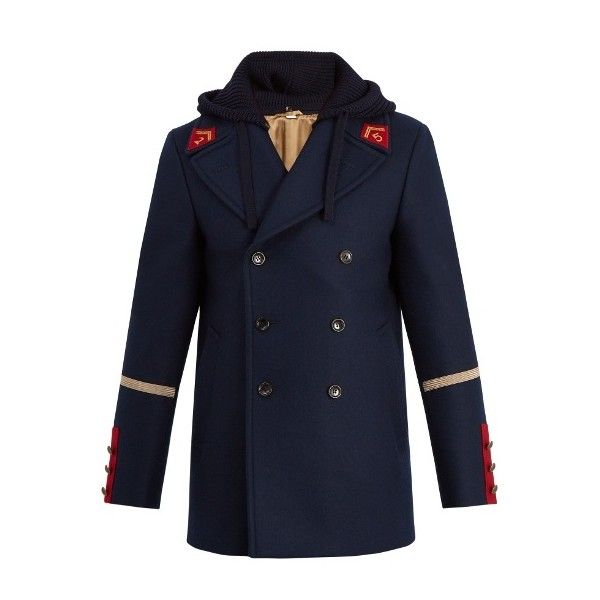 Gucci Caban detachable-hood wool coat ($2,880) ❤ liked on Polyvore featuring men's fashion, men's clothing, men's outerwear, men's coats, navy, mens slim fit wool coat, mens navy pea coat, mens slim pea coat, men's navy wool coat and mens wool coats