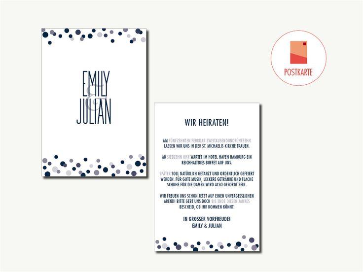 Hochzeitseinladung: Pünktchen, Dunkel Blau von HEYDAY Kartendesign auf DaWanda.com