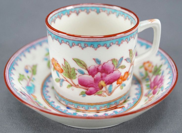 Brown Westhead Moore Cauldon Hand Colored Chinese Vase Demitasse Cup & Saucer