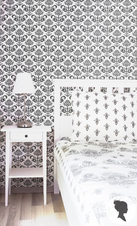 ▼▲▼ This Damask wallpaper will be great for a person who lives in apartment he rents! Self adhesive vinyl temporary removable wallpaper by Livettes. ▼▲▼  #wallpaper #renting #temporary #damask #removable #interior #bedroom