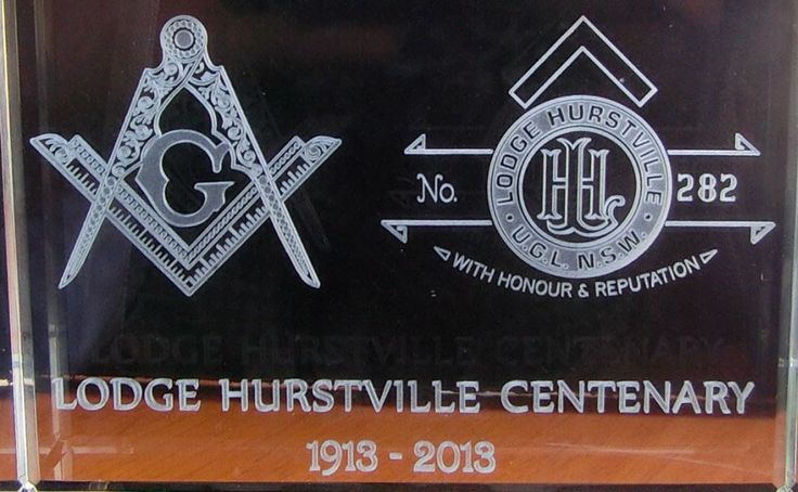 Crystal Memento: A 10x7X3cm crystal block used as a gift to members celebrating the centenary of the organisation. Note the fine detail that is faithfully replicated as well as the fine text and balance of the design.