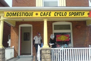 Frank and I often slip away to The Domestique – Café Cyclo Sportif to sit on the front porch and share a pint.