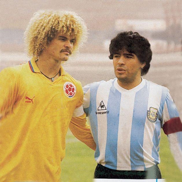 Maradona y Valderrama Me encanta esta foto Biva Argentina !! Proud to be Argentine