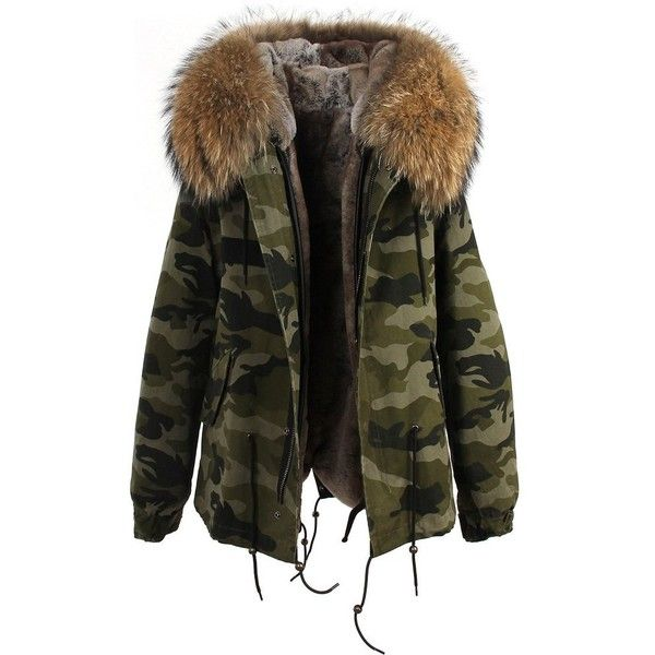 Camouflage Natural Fur Hooded Parka ❤ liked on Polyvore featuring outerwear, coats, jackets, camouflage parka, fur collar coat, faux fur lined parka, camo coat and fur hood parka
