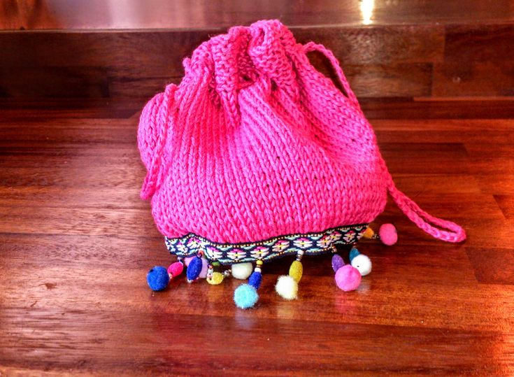 Festival Bag, Evening Purse, Drawstring Pouch, Coachella Clothing, Pom pom Accessories , Hot Pink Cotton by thekittensmittensuk on Etsy