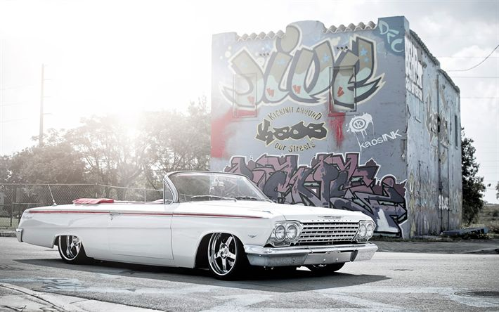 Download wallpapers Chevrolet Impala, cabriolet, american cars, tuning, graffiti, Chevrolet