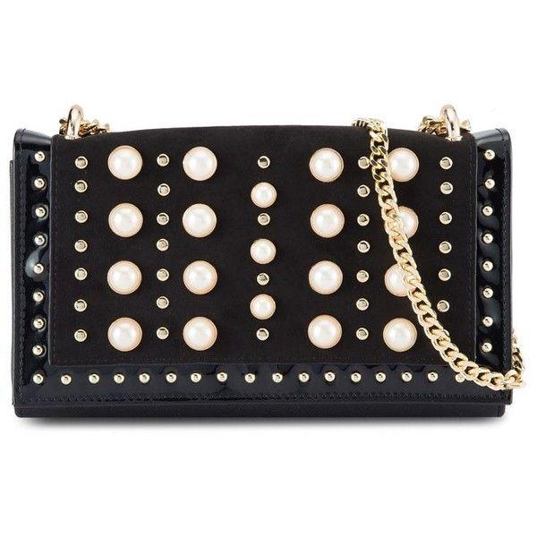 River Island Black Pearl Crossbody Bag ❤ liked on Polyvore featuring bags, handbags, shoulder bags, pearl handbag, river island handbags, river island purses, cross-body handbag and pearl purse