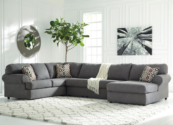 Signature Design By Ashley Jayceon Sectional Sofa With Left Arm Facing  Sofa, Armless Loveseat And Right Arm Facing Chaise In Steel Grey