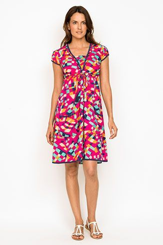 Our Favourite Amber Dress is now available in this bright and beautiful print, Punch!