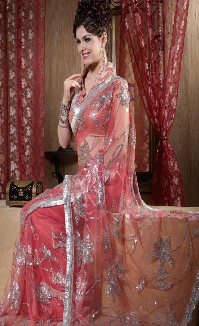 Blush #Pink Net #Saree @ $66.59
