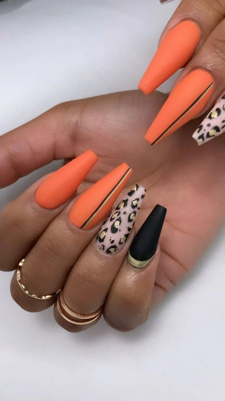 Leopard Print Nail Art Coffin Nails Orangenails In 2020 Cheetah Print Nails Leopard Print Nails Swag Nails
