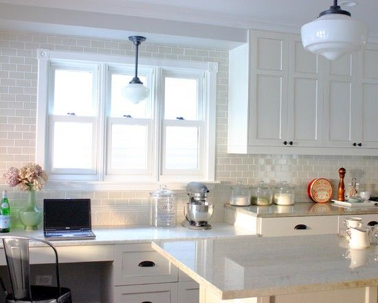LOVE this for my dream kitchen minus the lights....Gray Grout White Subway Tile Design: Rebekah Zaveloff, Kitchens Design, Lights Fixtures, Traditional Kitchens, Kitchens Ideas, Kitchens Backsplash, White Subway Tile, White Cabinets, White Kitchens