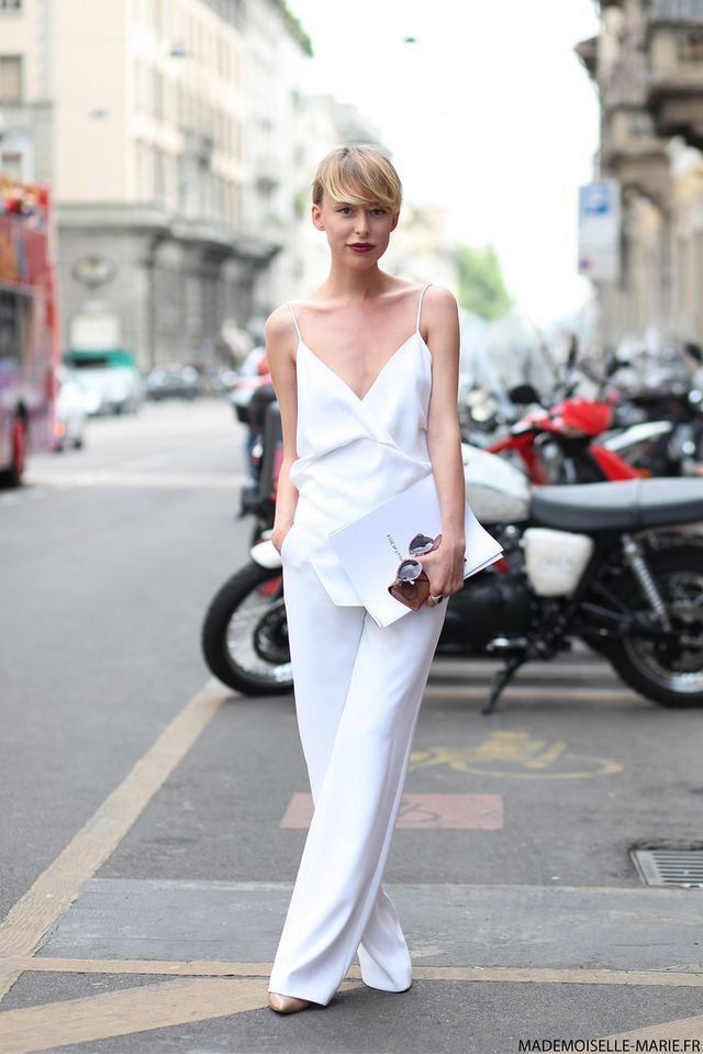White jumpsuit with a dark lip