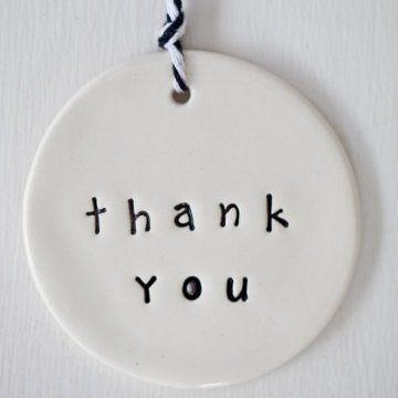 'thankyou' circle clay gift tag www.carolinec.com.au