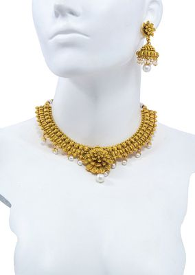 Glorious Temple Gold Plated Necklace Set