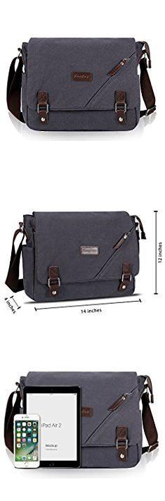 Side Bag Mens. ibagbar Canvas Messenger Bag Shoulder Bag Laptop Bag Computer Bag Satchel Bag Bookbag School Bag Working Bag for Men and Women (Dark Gray Large).  #side #bag #mens #sidebag #bagmens