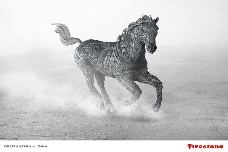 Publicité pour la marque de pneus Firestone, qui met en scène ce cheval à partir de #pneus. Une image sublime et une superbe idée pour une pub de pneus ! #Firestone