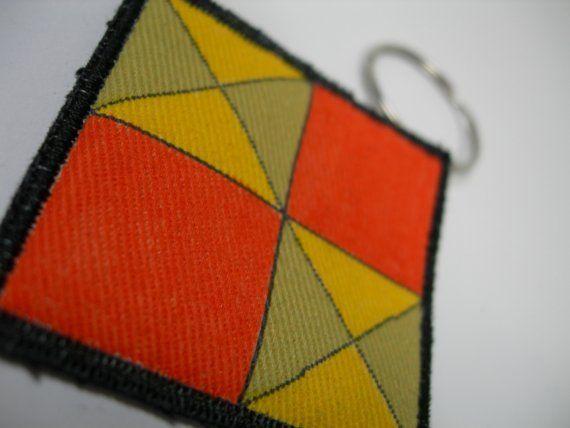 Keychain Quilt BLock Orange and Yellow