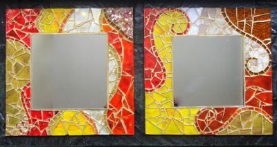 Espejos con marco decorados espejo vidrios de colores for Espejos redondos con marco de madera