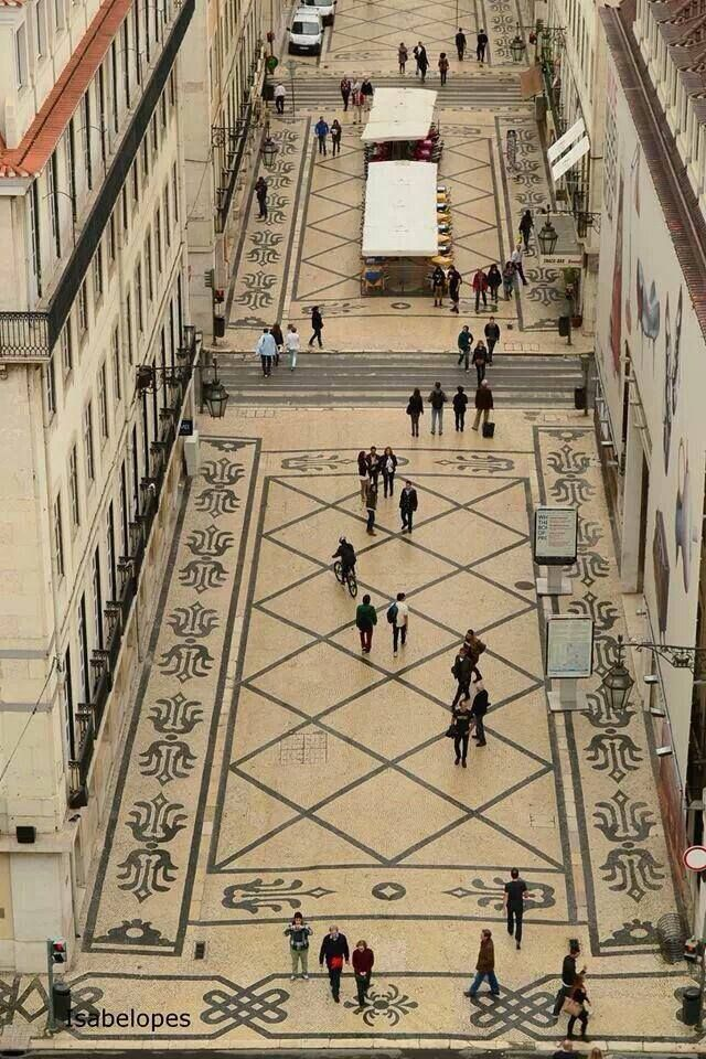 Carpet cobblestone, Augusta street, Lisbon, Portugal