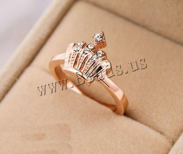 Anillo de Aleación de Zinc, Corona, chapado en oro de rosa real, con diamantes de imitación de Checo,