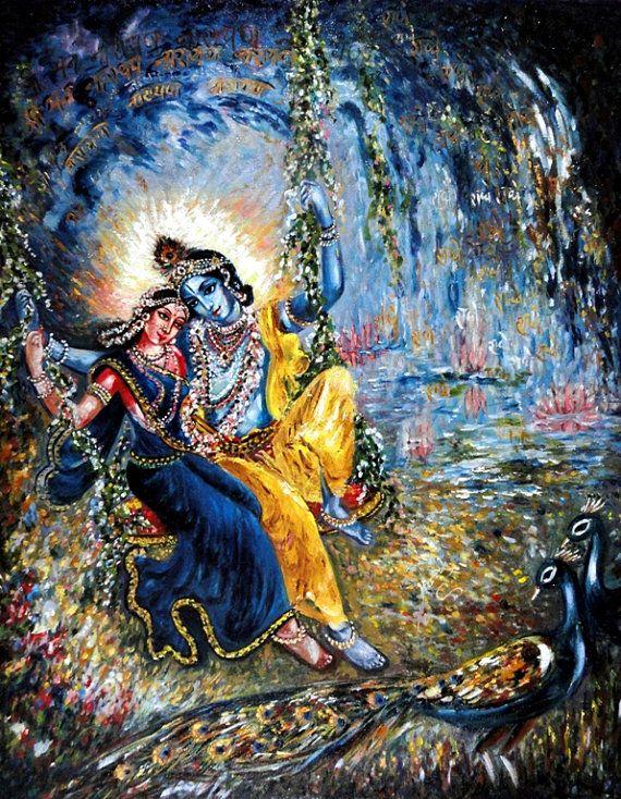 Holidays Exclusive Sale20%. Vintage Art Krishna Painting Original Radha by sadashivarts, $455.00