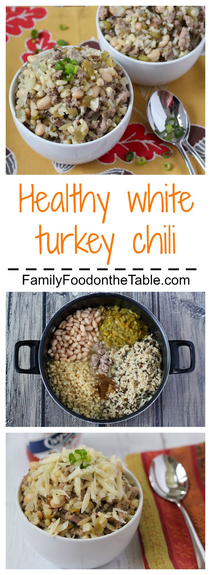 A delicious and healthy white turkey chili with wild rice | FamilyFoodontheTable.com