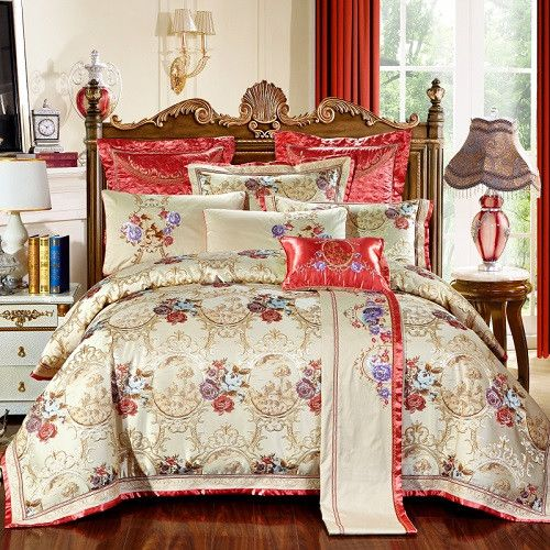 4/6 Pcs Luxury Wedding Royal Bedding Sets King/Queen Size Bed set Cotton Bed