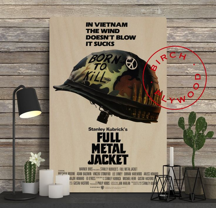 FULL METAL JACKET Poster on Wood, Stanley Kubrick, Matthew Modine, Vincent D'Onofrio, Movie Poster, Unique Gift, Print on Wood, Wood Gifts by InHousePrinting on Etsy