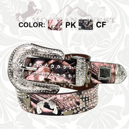 Montana West Pink Camouflage Double Guns Belt | Country Bling