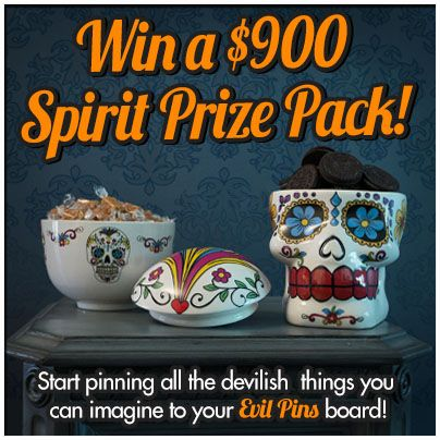 Enter the Evil Pins Pinterest Sweepstakes today with inspiration from SpiritHalloween.com! You could win a $900 Grand Prize Pack!