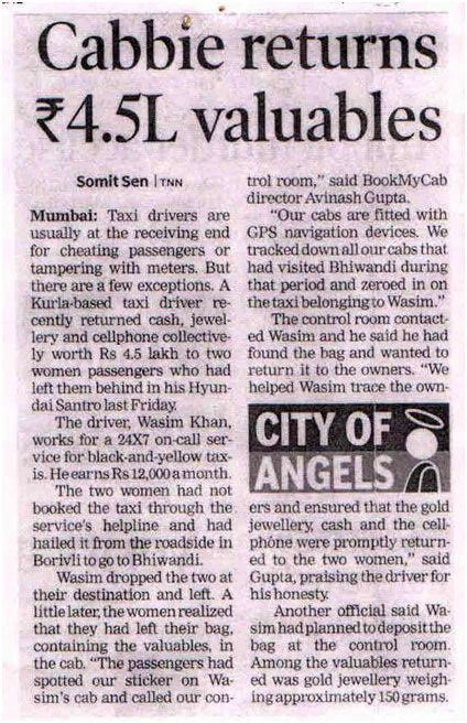 Cabbie returns Rs. 4.5 lakh valuables