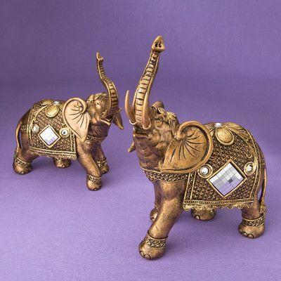 FashionCraft Stunning Elephant 2 Piece Figurine Set