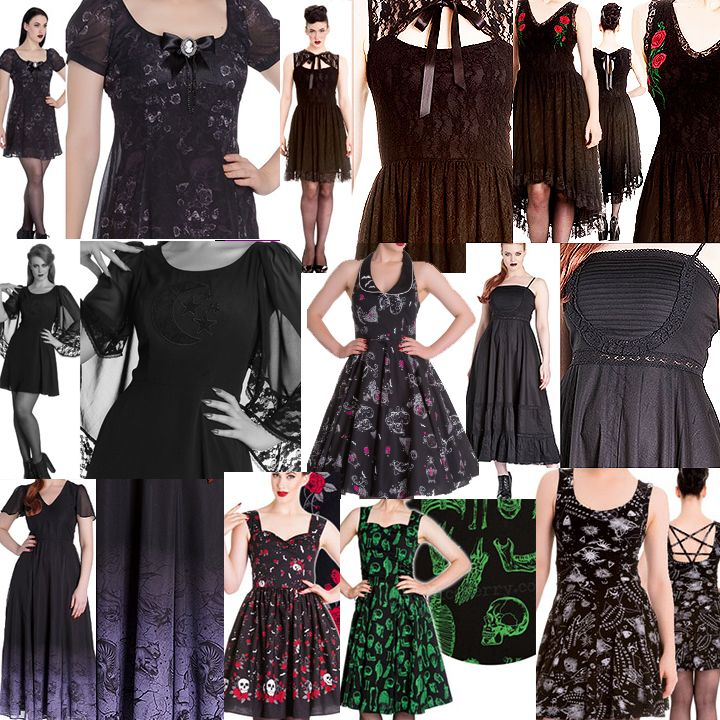 Fun gothy Hell Bunny and Spin Doctor ladies' dresses, including many plus sizes up