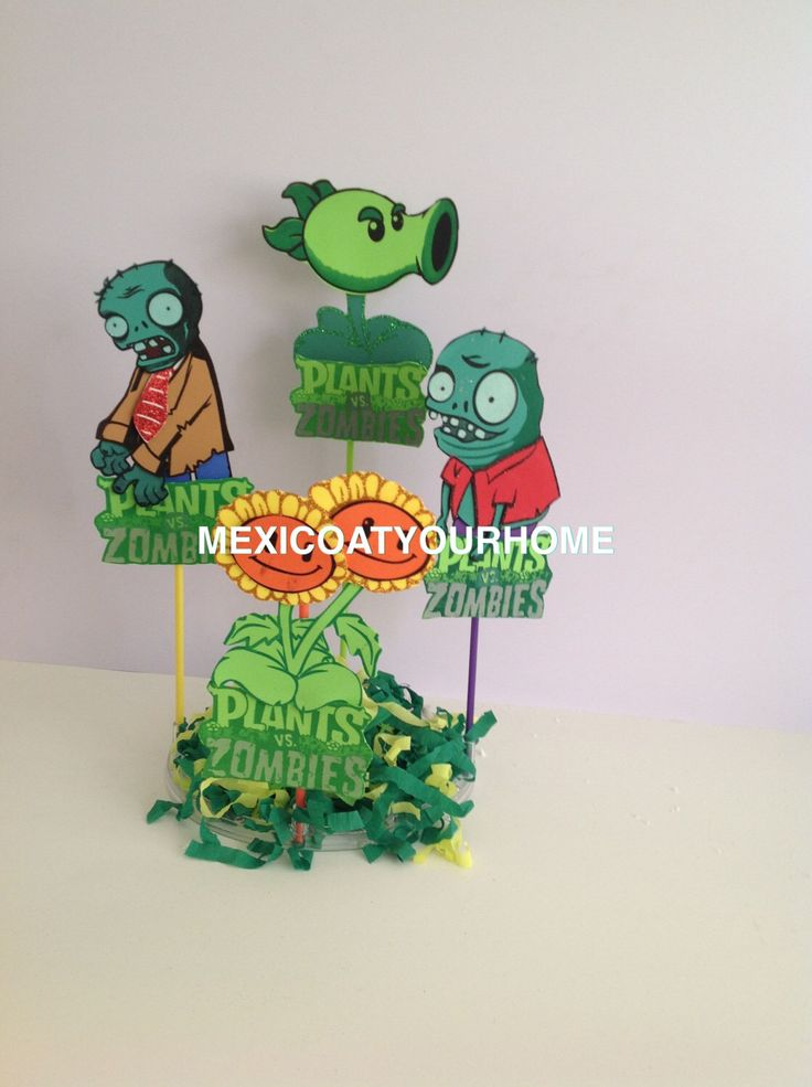 Plants vs. Zombies Party Decoration - Birthday Party Favor Decoration - Plants vs. Zombies Centerpiece Picks by Mexicoatyourhome on Etsy https://www.etsy.com/listing/212078993/plants-vs-zombies-party-decoration