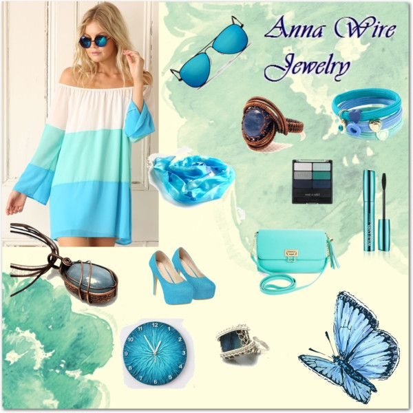 Amazing blue trend! by annawirejewelry on Polyvore featuring BCBGMAXAZRIA, Ray-Ban, MARC BY MARC JACOBS and Wet n Wild