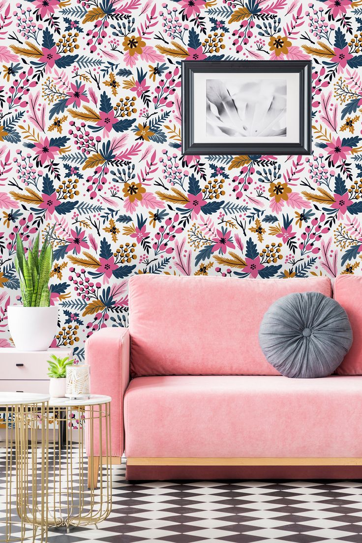Bright Pink Flowers Removable WallpaperPeel and Stick
